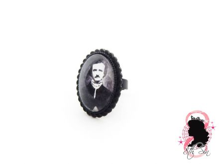 Gunmetal Black Edgar Allan Poe Ring